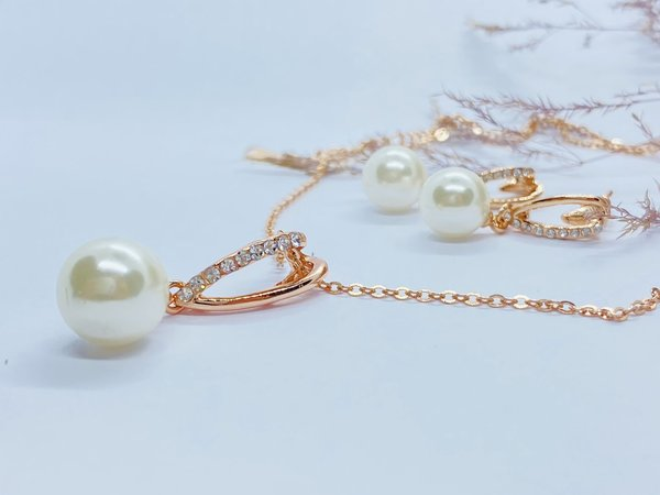 Schmuckset Long Pearl rosé vergoldet